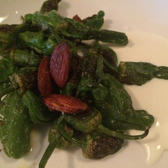 Padron Peppers Goat Cheese Toasted Almonds Harissa @ Blue Plate