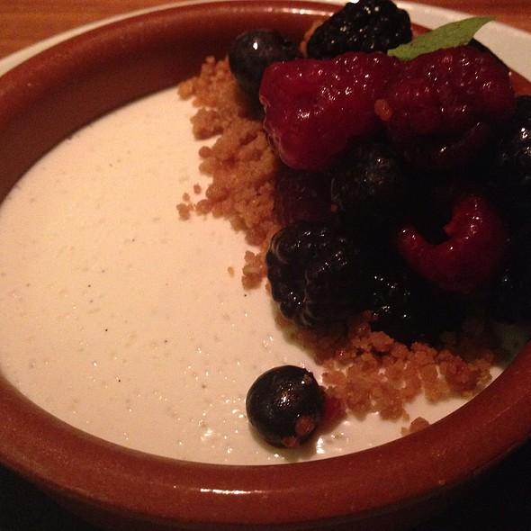 Greek yogurt panna cotta with salted cashew granola and fruit @ The Trenchermen