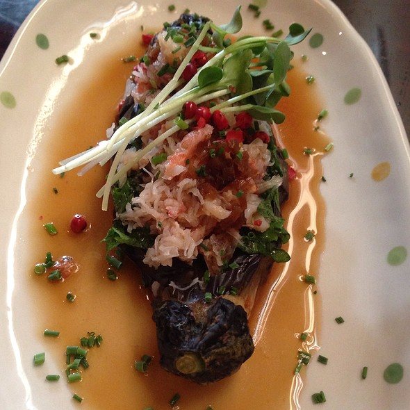 Nasukani- Japanese Eggplant Stuffed W. Crab & Shinso Leaf