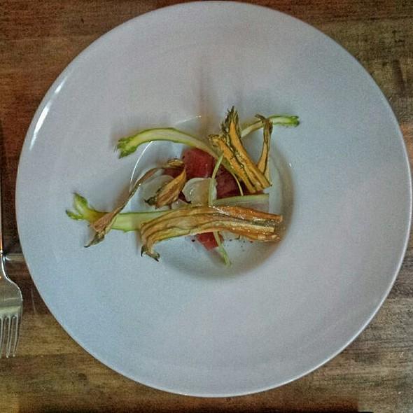 Yellowfin Tuna, Asparagus, Pistachio, Tonnato Cream @ Ink.