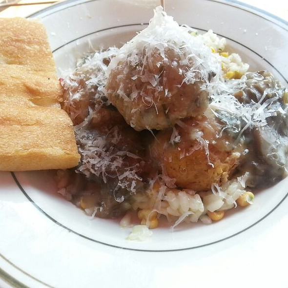 Spicy Pork Meatball With Mushroom Gravy With Corn And Leek Risotto Under