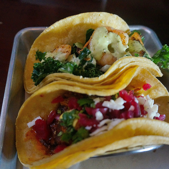 Lamb taco and shrimp w/ kale @ Red Pepper Taqueria