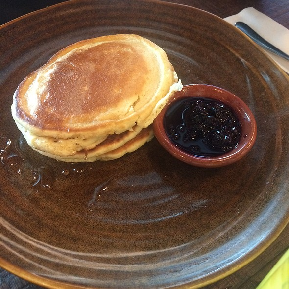 American Pancakes With Blueberry Compote And Greek Yogurt @ Jamie's Italian Gatwick