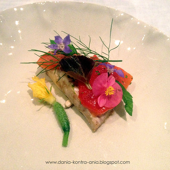 Sea trout, currant, nasturtium