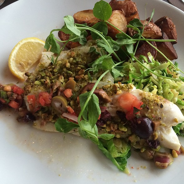 Pistachio-Encrusted Halibut Special - Seaglass Restaurant and Lounge, Salisbury, MA