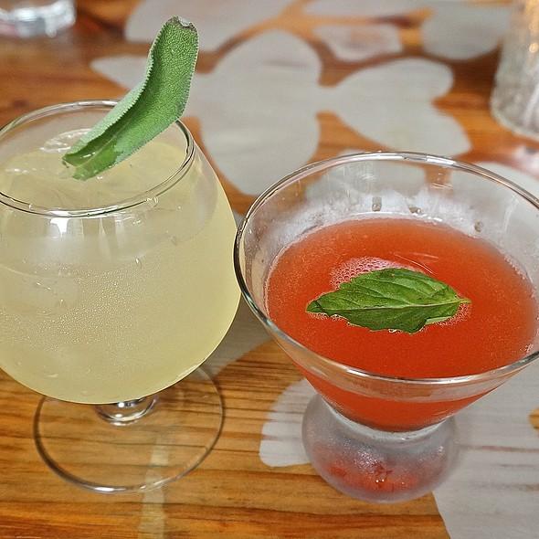 Bohemian bee (gin, honey, lemon, sage) on the rocks, strawberry basil martini @ Bohemian House