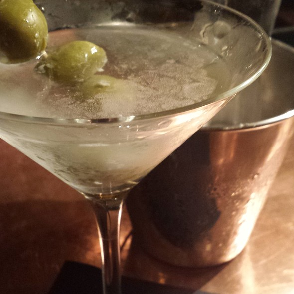 Gin Martini with Blue Cheese Stuffed Olives - OAK Long Bar + Kitchen, Boston, MA
