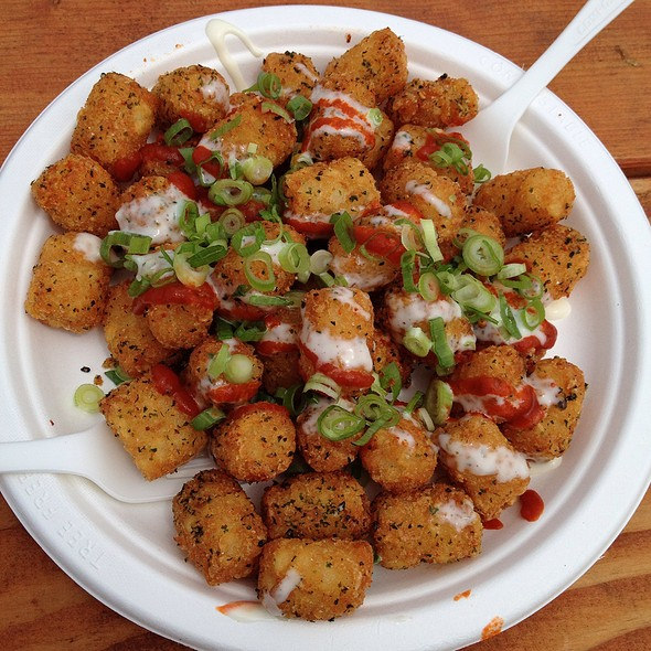 Spicy Tater Tots With Shichimi Togarashi, Seaweed, Kewpie, Sriracha