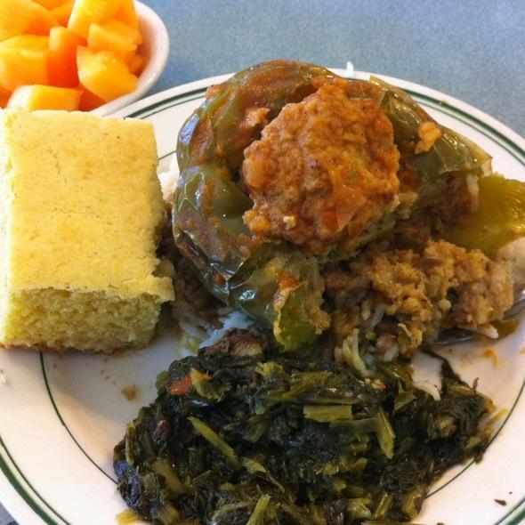 Jambalya Stufffed Greeen Pepper, Turnip Greens, Cornbread & Sliced Cantalope @ Bro's Cajun Cuisine