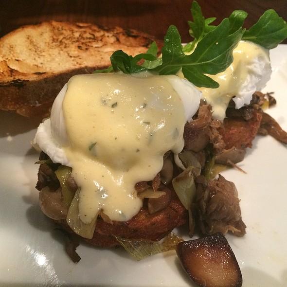 Duck Confit Ragout Poached Eggs On Potato Pancakes @ Absinthe Brasserie & Bar