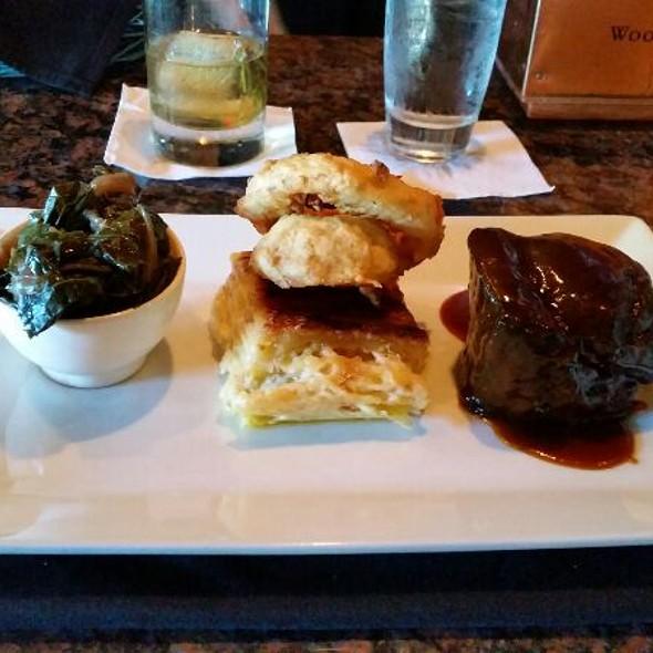 Braised Berkshire Pork Shoulder, Smoked Tomato Pork Jus, Smoke Gouda Mac 'N Cheese, Port Wine & Vinegar Braised Collards - Frog Hollow Tavern, Augusta, GA