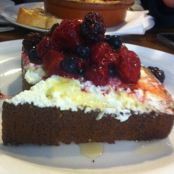 Banana Bread With Ricotta, Berries & Honey @ Clipper Cafe