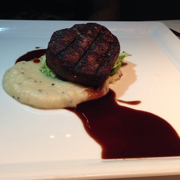 Wood Roasted Beef Tenderloin, Red Wine Butter, Black Truffle Potato Puree, Brussels Sprouts @ Abacus Restaurant