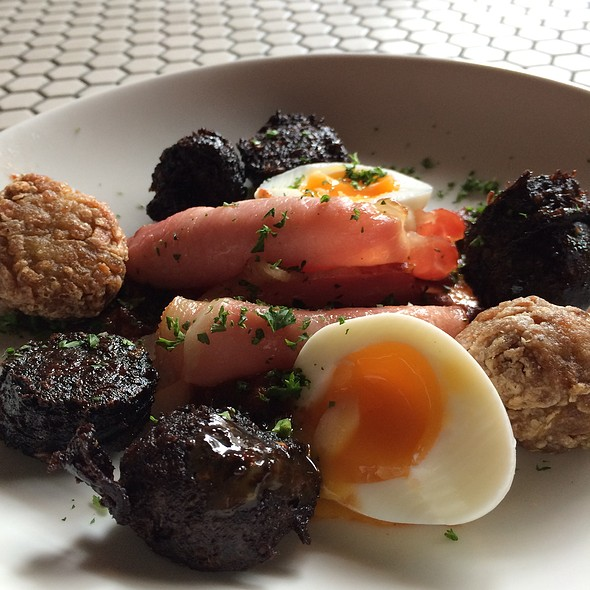 Grilled Black Sausage With Canadian Bacon, Hashed Browns & Boiled Egg @ Brewtown Newtown