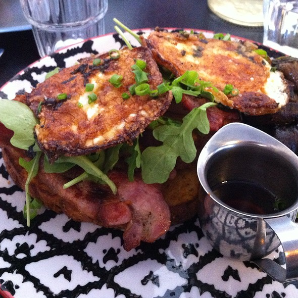 Granny June's Cornbread Served With Bacon, Fried Egg, Rocket And Maple Syrup