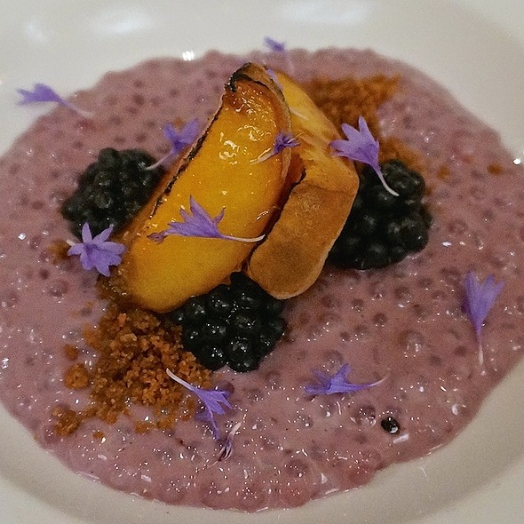 Roasted peaches with cinnamon crumble, blackberry and coconut tapioca pudding - Natural Selection, Portland, OR