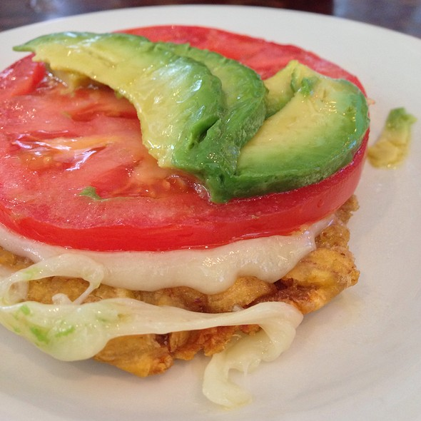Tostones With Cheese, Tomato, And Avocado