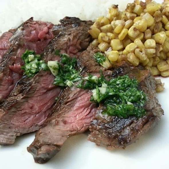 Steak With Chimichurri Sauce @ Home On The Beach