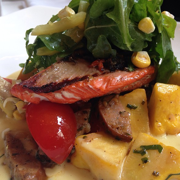 Salmon With Andouille Sausage Over Corn Puree