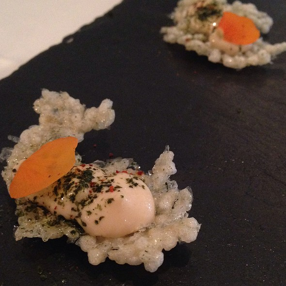Seaweed Cracker With Prawns - Roux at The Landau, London