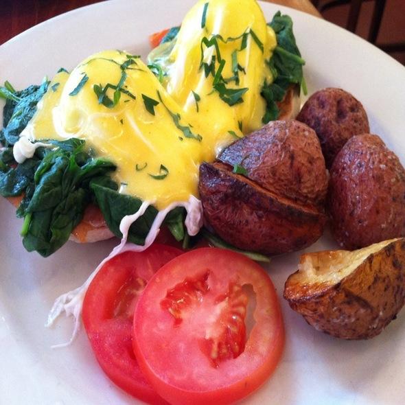 Eggs Florentine With Smoked Salmon - Cornelia Street Cafe, New York, NY