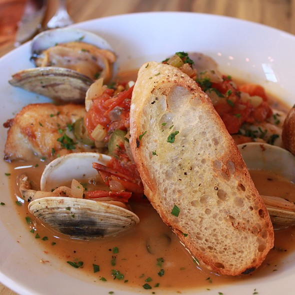 Normande Fish Stew, Altantic Cod, Barron Point Clams, Pernod, Roasted Tomatoes, Sofritto, Grilled Baguette @ RockCreek Seafood & Spirits