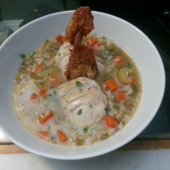 Roast Chicken Soup With Chicken Skin Crackling @ Home On The Beach