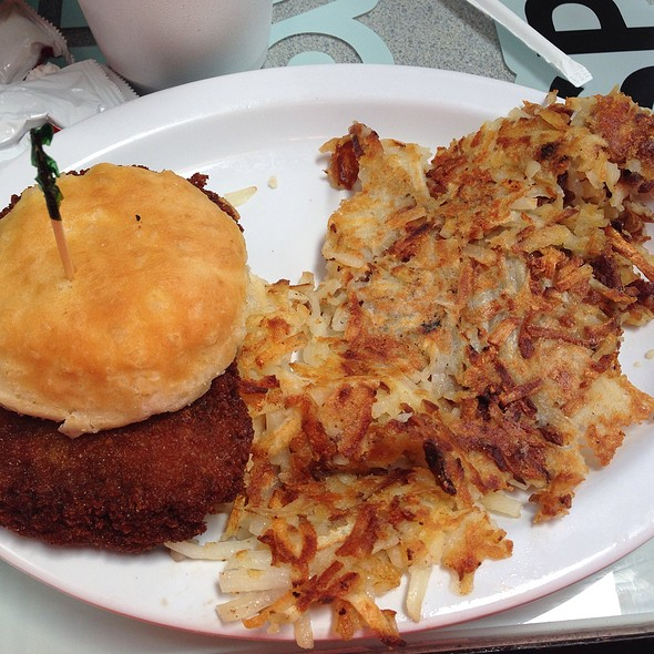 Steak Biscuit And Hashbrowns