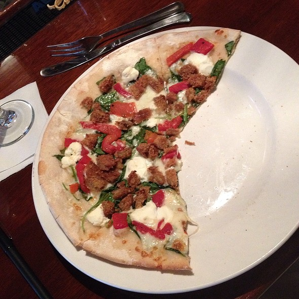 Pizza Special- Egg Plant, Roasted Red Pepper & Spinach - Wheatfields Restaurant & Bar, Saratoga Springs, NY
