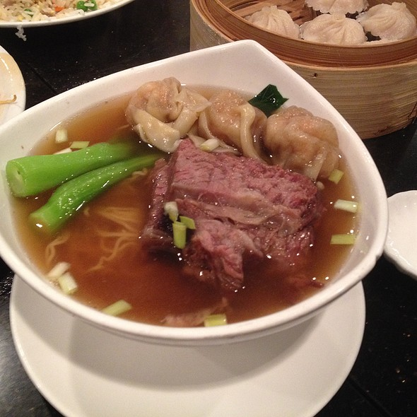 Beef Brisket And House Special Dumplings With Rice Noodle Soup
