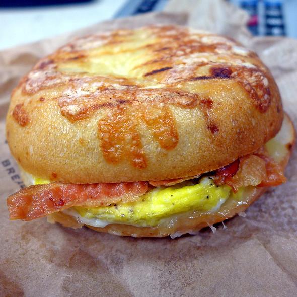 Bacon, Egg, & Cheese Bagel Breakfast Sandwich @ Atlanta Bread Company