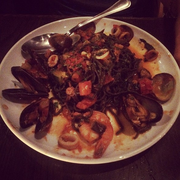 Squid Ink Fettuccine With Seafood