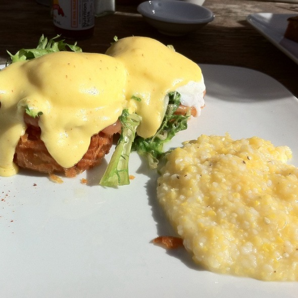 Smoked Salmon Eggs Benedict On Bed Of Crispy Hashbrown Patty With Side Of Grits @ Square One Dining