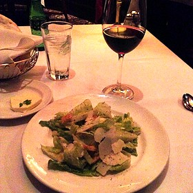 Ceasar Salad And A Glasss Of Zinfandel Wine