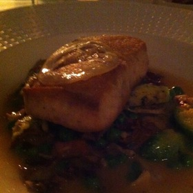Hawaiian Opah With Baby Artichokes, Brussel Sprouts, Tomato, Pancetta, Peas, And Radish