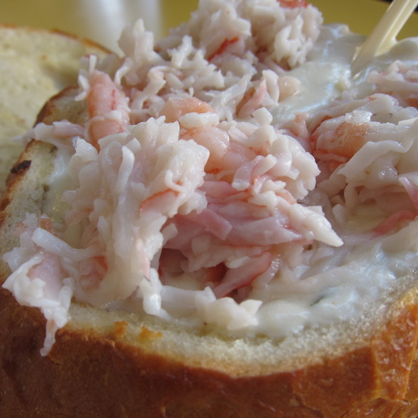 Clam Chowder With Seafood Topping In A Bread Bowl @ Splash Cafe