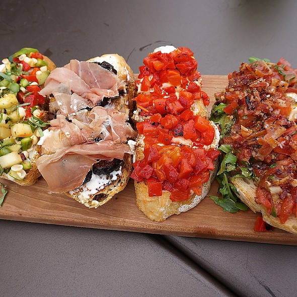 Bruschetta board – seasonal asparagus, pepers, corn, squash, basil, goat cheese; prosciutto, figs, mascarpone; red peppers, goat cheese; burrata, bacon, arugula, tomato