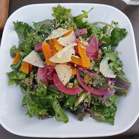 Hannah's field salad – kale, quinoa, Fuji apple, apricot, pecorino stagionato, pickled red onion, apple cider-mustard vinaigrette
