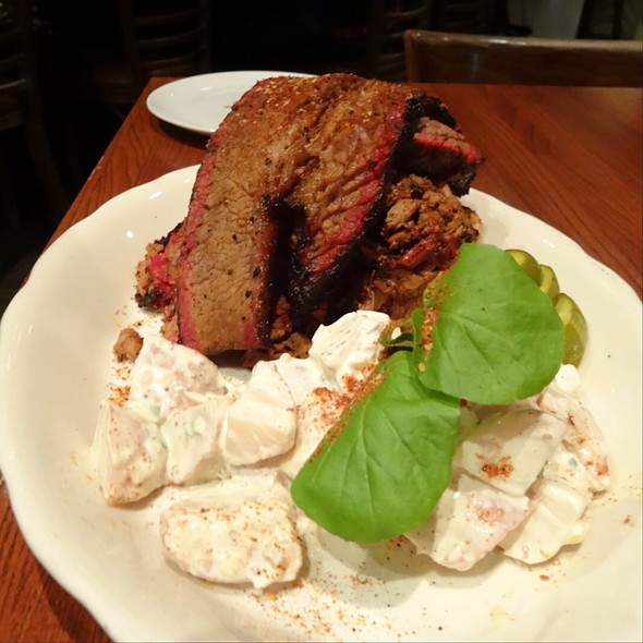 Coffee Cured Beef Brisket With Potato Salad And Pickles
