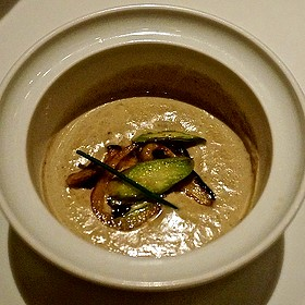 Wild mushroom and sherry bisque, asparagus, shiitake, oyster mushrooms