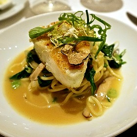 Green miso sea bass, bok choy, scallions, ramen noodles, truffle essence, lobster miso and citron rouille