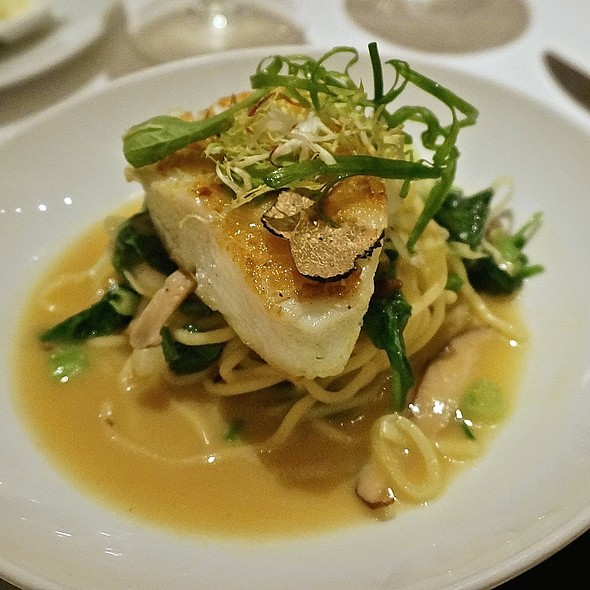 Green miso sea bass, bok choy, scallions, ramen noodles, truffle essence, lobster miso and citron rouille - Geronimo, Santa Fe, NM