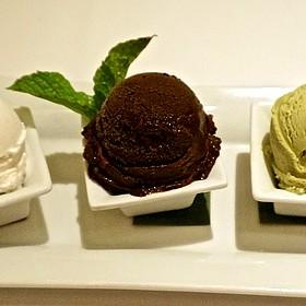 Coconut and Valrhona dark chocolate sorbets, green tea ice cream