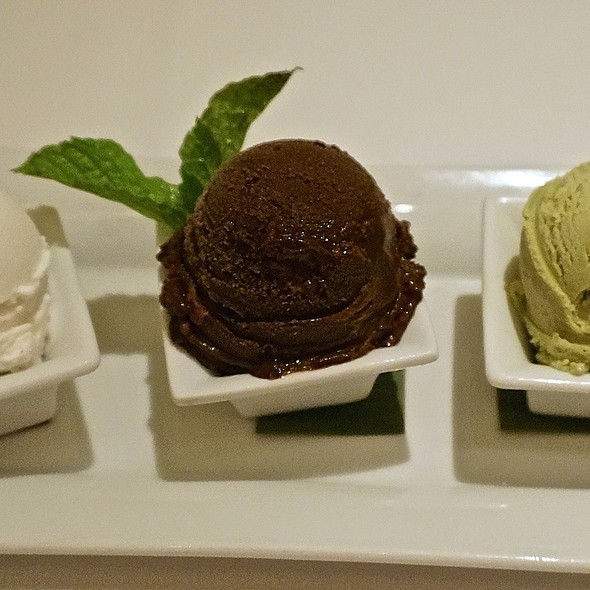 Coconut and Valrhona dark chocolate sorbets, green tea ice cream - Geronimo, Santa Fe, NM