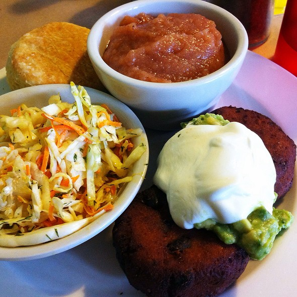Black Bean And Sweet Potato Cakes With Avocado Lime Creme And Pico De Gallo