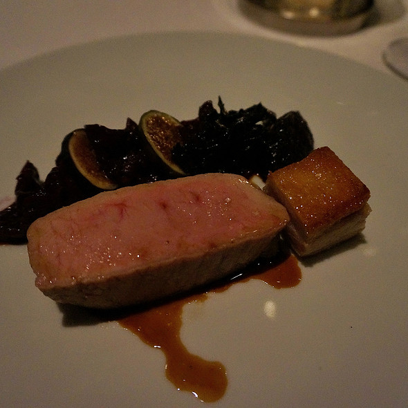 Pork, pork belly, Braised red cabbage, figs, and black trumpet mushrooms @ Canlis