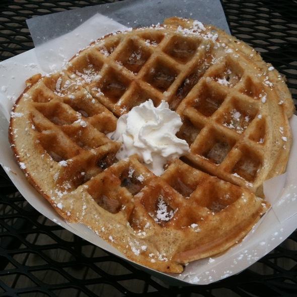 banana walnut waffle @ Poppy's Frozen Yogurt & Waffle Shop