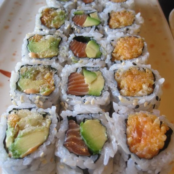Spicy Avocado Roll, Salmon and Avocado Roll, and Spicy Salmon Roll @ Sushi Plus