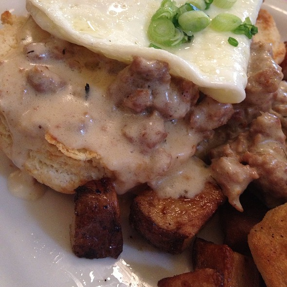 Biscuits And Red Eye Sausage Gravy With Potatoes And Eggs Over Easy @ Sweet Laurette's