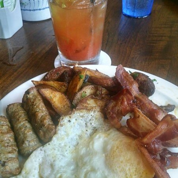 Eggs, Sausage, Bacon, Country Potatoes & Bloody Mary - Charley's Restaurant & Saloon, Paia, HI